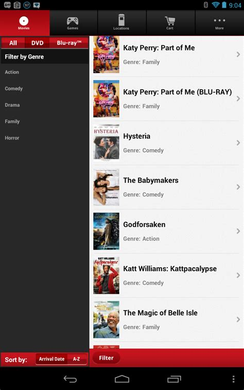 redbox app for android redbox app for android updated to v3 brings better design and improved filtering options