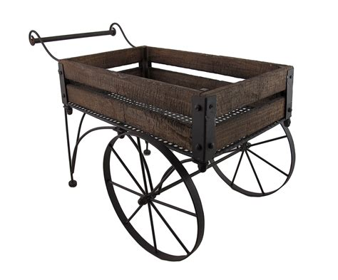 wooden wagon planter rustic wood and metal indoor outdoor 2 wheeled wagon cart