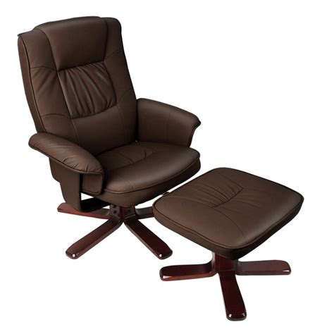 leather recliner chair and stool brown swivel pu leather recliner armchair w ottoman buy