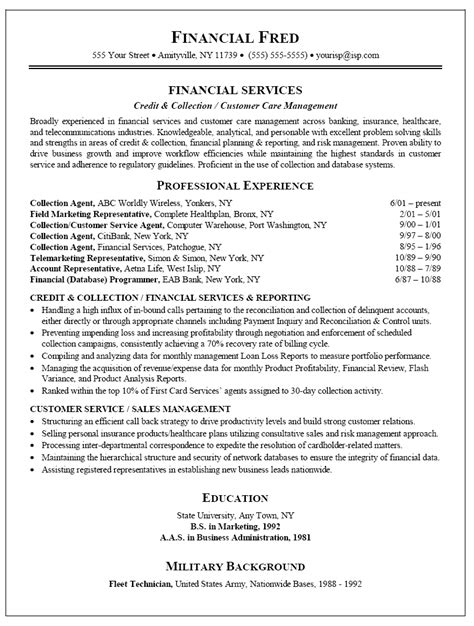 Collection Representative Sle Resume resume sle for collections