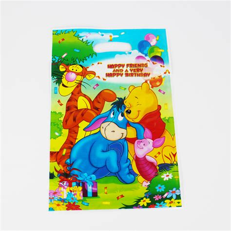 Goodie Bag Resleting Banner Winnie The Pooh 1 winnie the pooh kid boy baby happy birthday decoration kits supplies favors loot bag