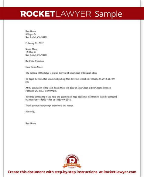 child custody letter template child visitation letter with sle