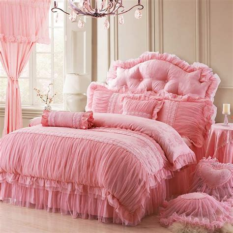 princess queen bed princess lace flower luxury bedding sets queen king size