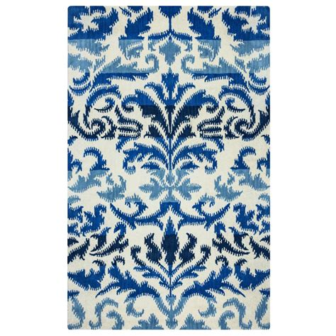 ikat rug blue rizzy home volare blue ikat tufted wool 8 ft x 8 ft area rug volvo2584009308rd