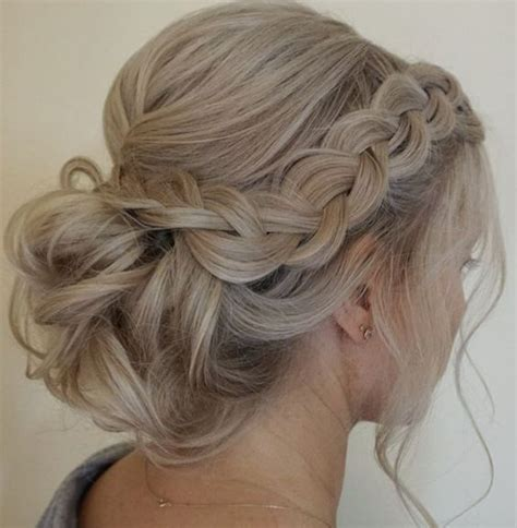 bridesmaid hairstyles ideas and hairdos side braided low updo wedding hairstyle low updo updo