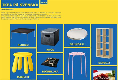 Ikea Names | a website that teaches you how to pronounce the names of