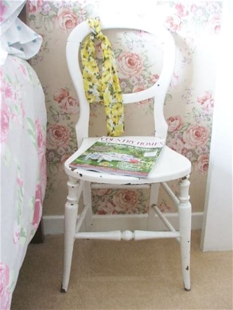 small white bedroom chair wooden chair with original chippy paintwork