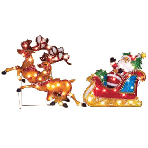 outdoor christmas decoration lighted santa claus on sleigh
