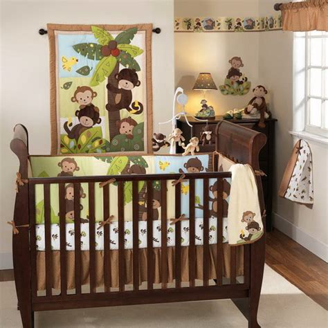 Monkey Baby Crib Bedding Theme And Design Ideas Family Monkey Curtains Nursery