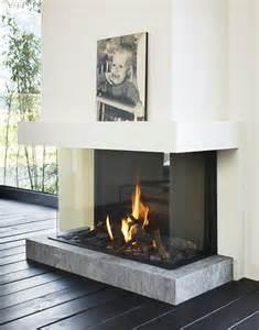 three sided modern fireplace mi casa