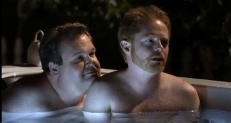 bathtub webcam modern family sneak peek james marsden in a hot tub with cam and mitchell