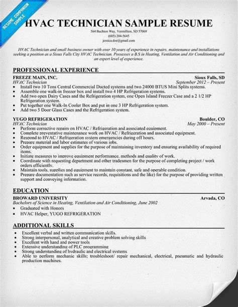 sle resume for air conditioning technician best ideas about sle resumecompanion sle join and