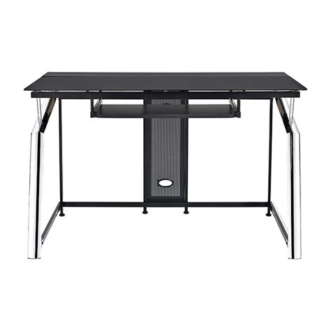 Black Computer Desk Uk Black Glass Chrome Computer Desk Trolley Review And Photo