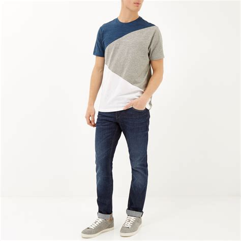 s color block shirt lyst river island blue color block t shirt in blue for