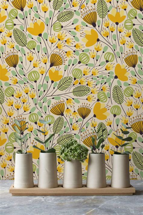 yellow flower wallpaper for walls yellow flower pattern wallpaper removable wallpaper wall
