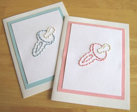 card stitch templated baby binky stitched card pattern make and takes