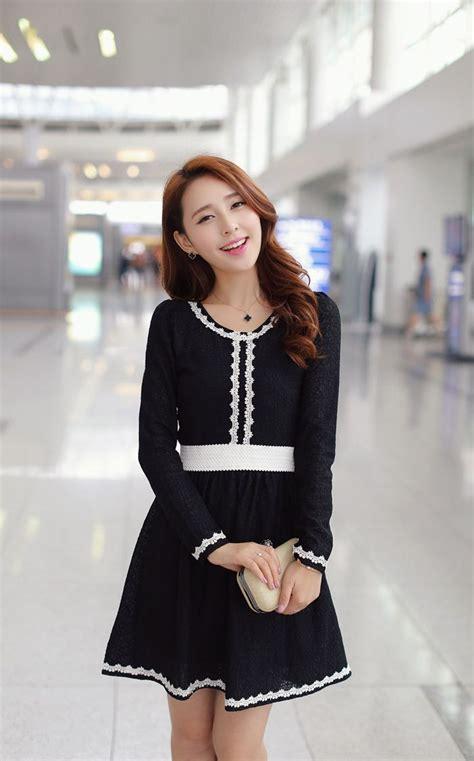 Dress Korea Paria style lace panel flare dress korean fashion