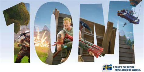fortnite total players fortnite surpasses 10 million players