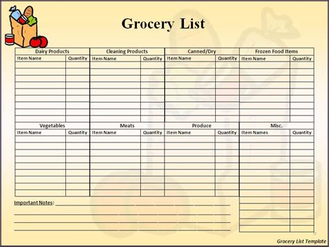 grocery list template best word templates