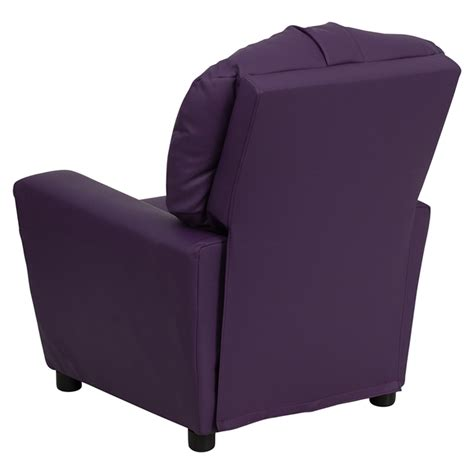 purple recliner chairs upholstered kids recliner chair cup holder purple dcg