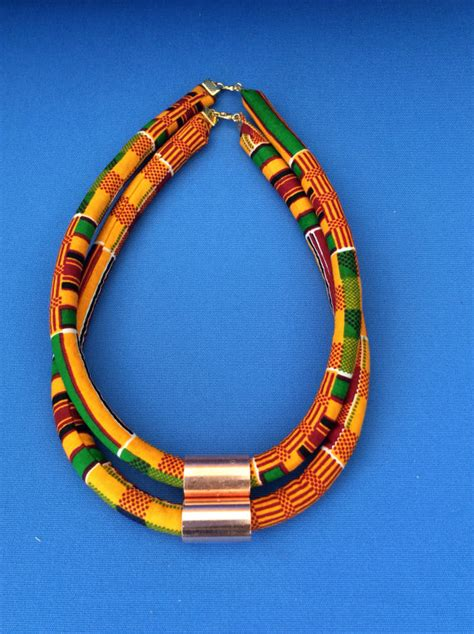 ankara necklace one ankara rope necklace tribal necklace statement necklace