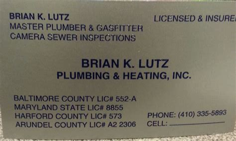 Maryland Plumbing And Heating by Lutz Brian K Plumbing And Heating In Middle River Lutz Brian K Plumbing And Heating 6904