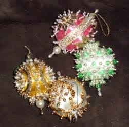 4 vintage beaded sequin christmas ornaments lot handmade