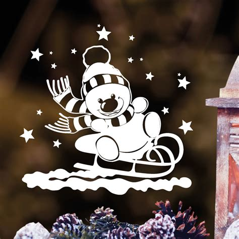 Fensteraufkleber Weihnachten by Fensteraufkleber Schneemann Auf Schlitten Fensteraufkleber