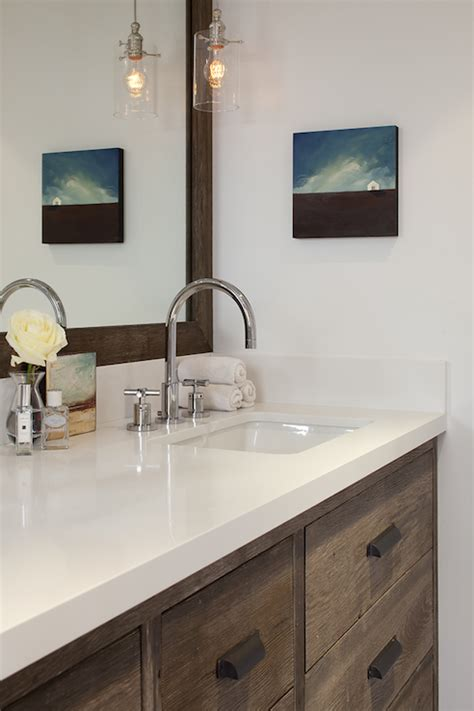Pendant Lights Bathroom Vanity by Antique Finish On Cabinets Transitional Bathroom