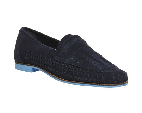Nike Casual Slip On Suede Navy mens office bow weave slip on navy suede blue sole casual shoes ebay