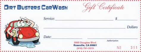 Car Wash Gift Card Template by Gift Certificates Dirt Busters Granite Bay