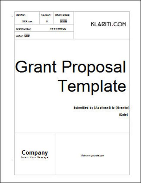 grant template ms word with free cover letter