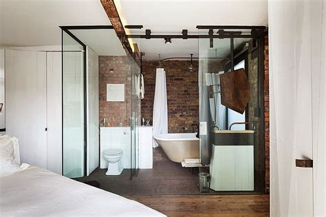 all glass bathroom exposed brick walls meet sustainable modern design in