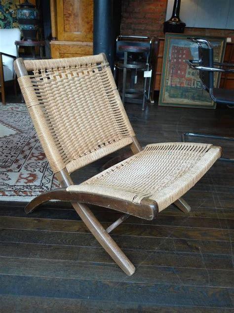 mid century folding rope chair   style  hans wegner  sale  stdibs