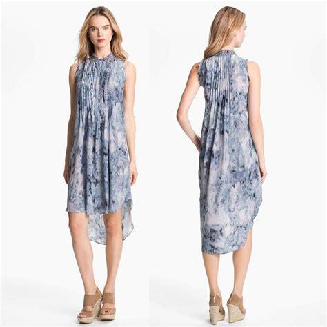 20838 Import Soft Velvet Casual Dress Belt Waist blue print pintuck sleeveless silk