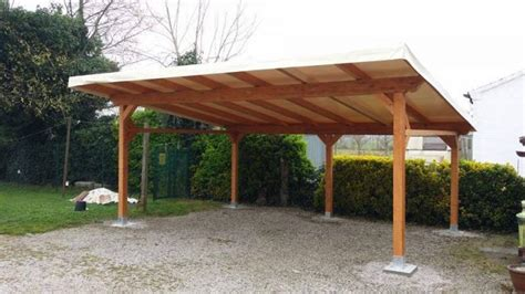 tettoia legno lamellare tettoia 2 posti auto 600x500 cm con telo pvc a