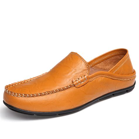 comfortable loafers mens leather shoes flat with handmade comfortable s