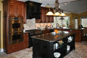 Kitchen Floors With Cherry Cabinets Kitchens8l Distressed Cherry Kitchen Cabinets Travertine Tile Kitchen Floor Jpg From Works Of