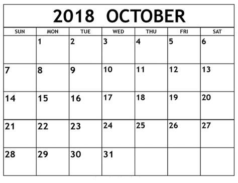 october 2018 free printable calendar templates