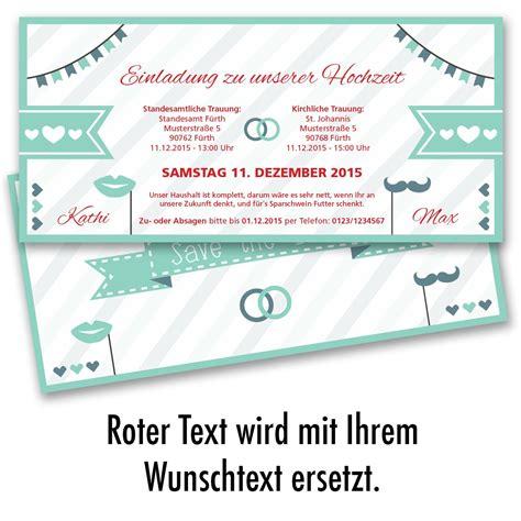 Einladung Hochzeit Mint by Hochzeitskarten Als Eintrittskarte Mint Ab 55 Cent