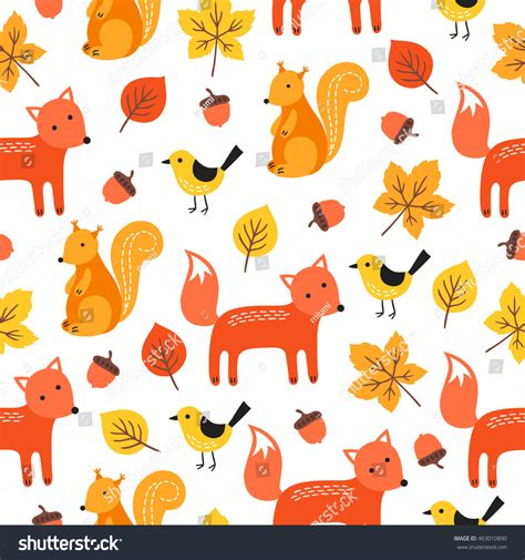 cute fox on leaf and acorn pattern mousepads zazzle seamless pattern fox squirrel birds acorn stock vector