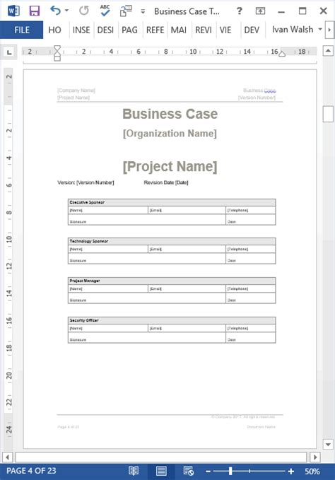 Business Case Template Ms Word 22 Pages Business Template Word