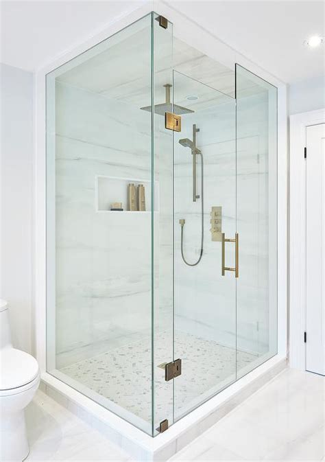 Brass Shower Doors Square Brass Shower Marble Herringbone Shower Floor Transitional Bathroom