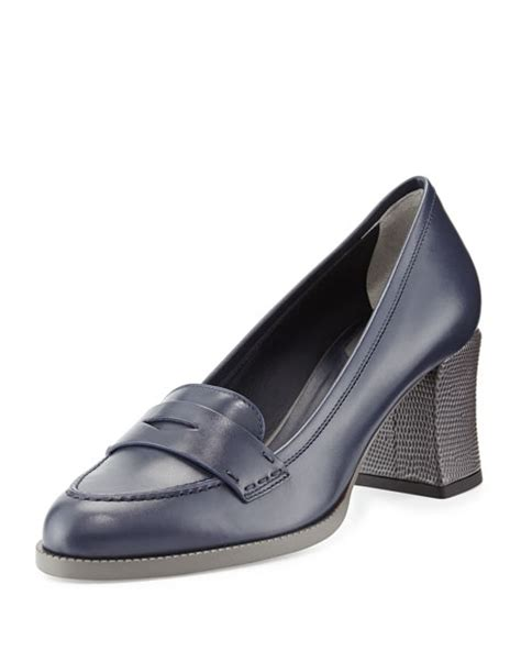 mid heel loafer fendi mid heel leather loafer indigo