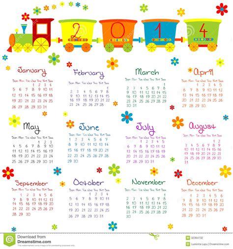 Calendario L 2014 Calendario 2014 Con Il Treno Per I Bambini Fotografia
