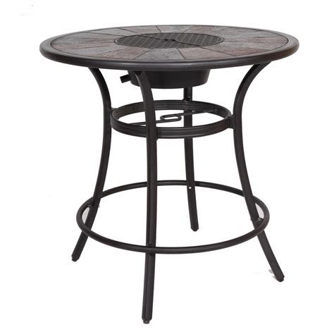 Patio Table Size Shop Allen Roth Safford 40 In W X 40 In L Aluminum Bar Table At Lowes