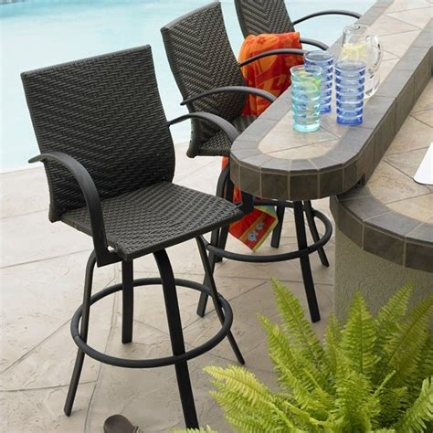 outside patio bar stools outdoor greatroom company resin wicker 47 quot swivel bar stool in dark brown set of 2 naples 4030 l
