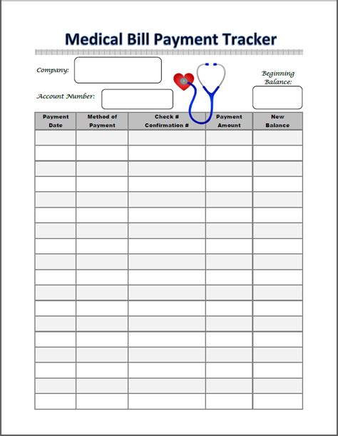 Binders 101 Medical Binders101 Bill Tracker Template