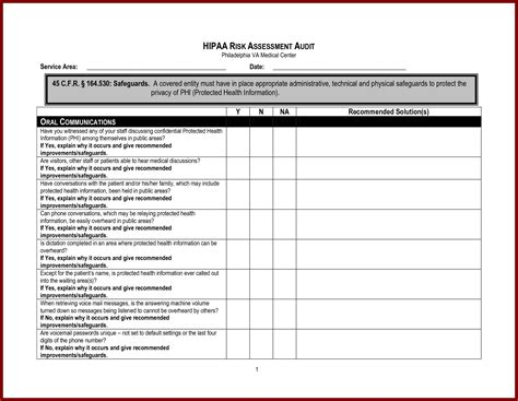 hipaa risk assessment template hipaa risk assessment template template design