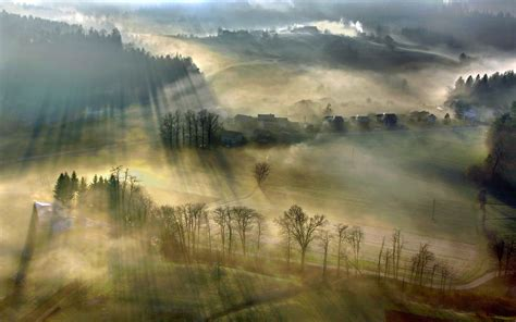 Landscape Photography With Sun Nature Mist Landscape Sun Rays Villages